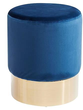 Kare Design Cherry Blau Brass Hocker Ø35cm Messing/Blau