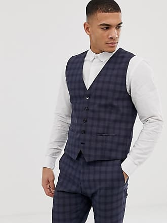 Selected suit vest in navy check - Navy