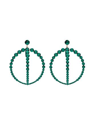 Jacquemus Par de brincos de argola dupla com contas - Verde