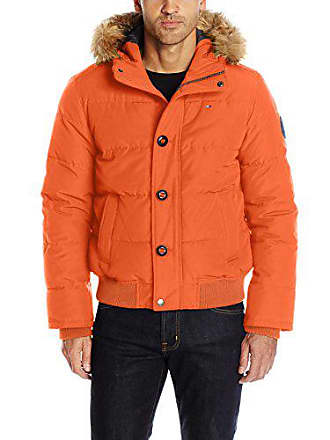3dc411a3 Tommy Hilfiger Mens Arctic Cloth Quilted Snorkel Bomber with Removable Faux  Fur Trimmed Hood, Orange