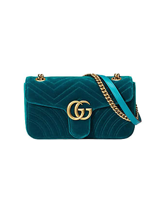Gucci Bolsa tiracolo GG Marmont em veludo e seda - Azul