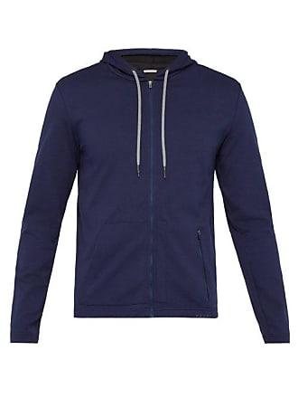 Falke Zip Through Cotton Stretch Hooded Sweatshirt - Mens - Navy