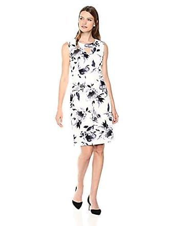 Kasper Womens Floral Printed Scuba Crepe Dress with Triangle Key Hole, Steel Multi, 12