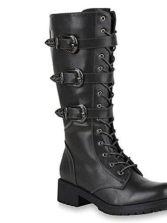 Stiefelparadies Damen Schnürstiefel Biker Boots Schnallen Metallic Stiefel  150939 Grau 36 Flandell c03950b226