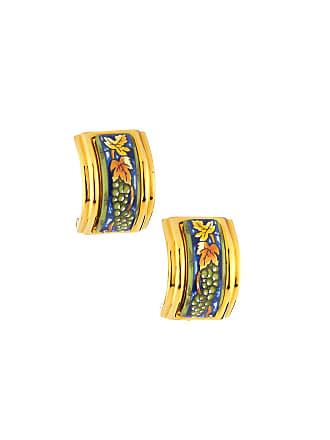 Hermès Estate Grape Leaf Enamel Earrings, Blue/Gold