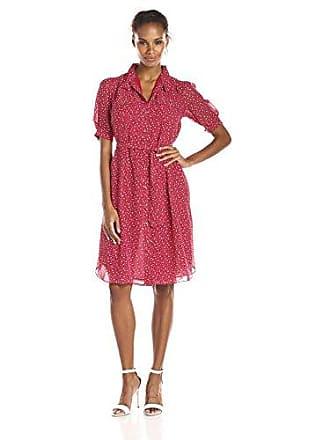 Anne Klein Womens Short-Sleeve Printed Shirt Dress, Barn Red/White, 8