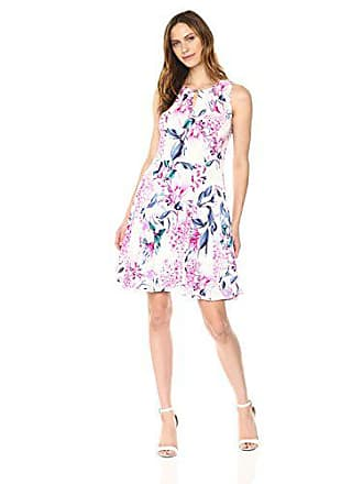 Ivanka Trump Womens Sleeveless Printed Pleated Dress, Ivory/Multi, M