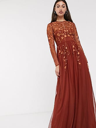 Asos Tall ASOS DESIGN Tall long sleeve maxi dress in embroidered mesh-Brown