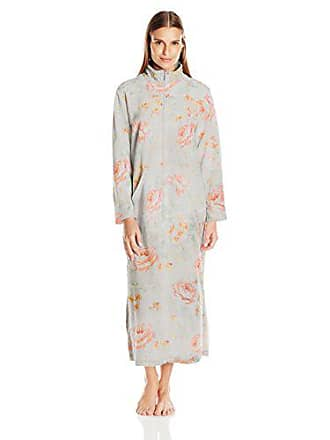 Miss Elaine Womens Brushed Back Terry Long Zip Robe-Print 74a3bd2ac