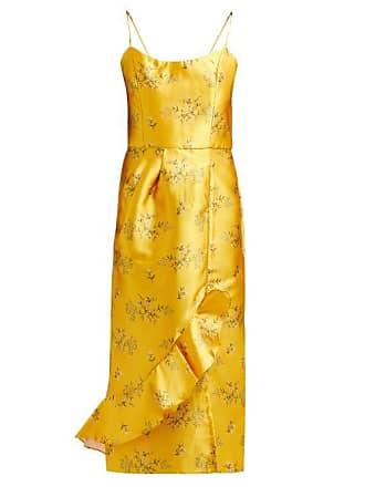 a481d44a515 Johanna Ortiz Escape With Me Floral Print Satin Dress - Womens - Yellow