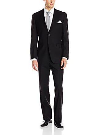 U.S.Polo Association Mens Nested Suit, Solid Black 42 Long