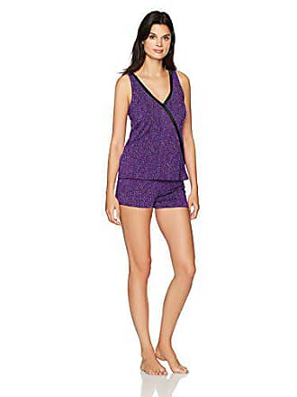 Maidenform Womens Dried Botanicals Satin Trim Crossover Tank Short Set, Scatter Print, Small