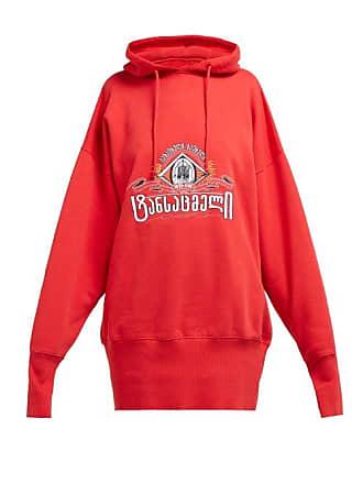 VETEMENTS Secret Society Cotton Hooded Sweatshirt - Womens - Red