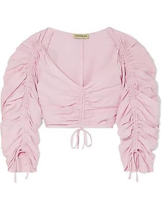Nicholas Ruched Cropped Silk And Linen-blend Top - Pink
