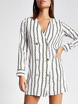 River Island Womens White chain print swing tux dress
