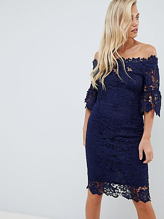 Paper Dolls off shoulder crochet dress with frill sleeve in navy - Navy
