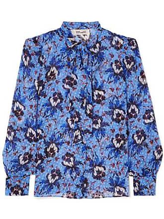 Diane Von Fürstenberg Lanie Pussy-bow Floral-print Flocked Silk-blend Chiffon Blouse - Blue