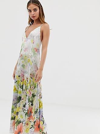 70a5bc2986a Asos Petite ASOS DESIGN Petite - Robe caraco longue trapèze en satin fleuri  - Multi