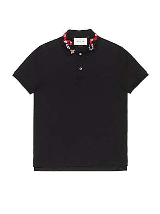 Gucci Polo in cotone con ricamo serpente b620f414461