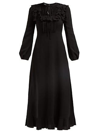 Giambattista Valli Ruffle Trimmed Smocked Crepe De Chine Dress - Womens - Black