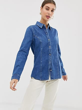 Asos Denim fitted western shirt in midwash blue - Blue