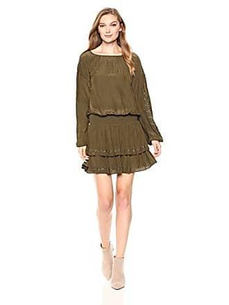 Ramy Brook Womens Sheryl Embellished Tiered Mini Dress, UBRAN Green, Medium