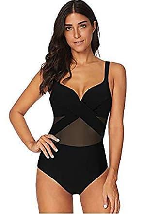 0cd9fb865bc673 FeelinGirl Badeanzug Damen Bauchweg V-Ausschnitt Monokini Einteiler Bikini  Push Up Bademode mit Shorts Schlankheits