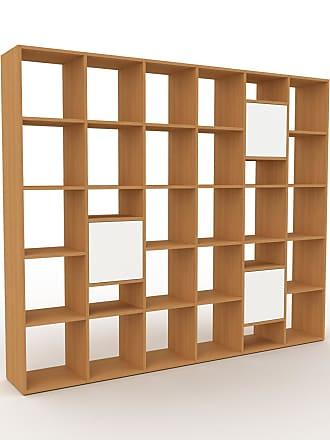 MYCS Bibliothèque - Chêne, pièce de caractère, rangements raffiné, avec porte Blanc - 233 x 195 x 35 cm, configurable