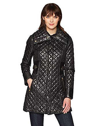 Via Spiga Womens Lightweight Quilted Jacket with Side Tabs, Black, Medium