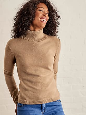 b8602a922c5d WoolOvers Womens Cashmere and Merino Fitted Polo Neck Knitted Jumper Camel