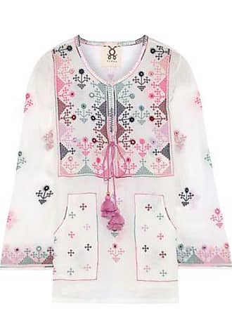Figue Figue Woman Julie Tie-front Embroidered Silk-voile Tunic White Size XS