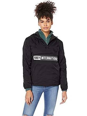 Obey Juniors International 2 Hooded Half Zip Anorak, Black, Small