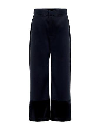 Sea New York Satin Denim Cropped Flare Jeans Black