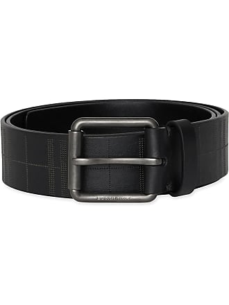 Burberry Perforated Check Leather Belt - Preto