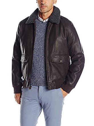 Dockers Mens Rugged Cow Leather Look Two Pocket Aviator Bomber W. Removable Sherpa Collar, Dark Brown, M