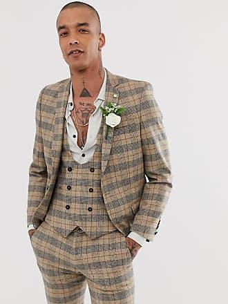 Twisted Tailor Ace - Giacca da abito da matrimonio super skinny con catene marrone a quadri heritage-Cuoio