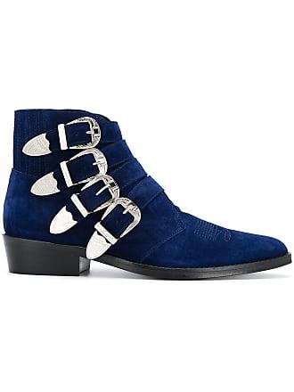 Toga Archives Ankle boot com fivela de camurça - Azul
