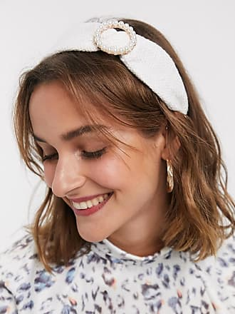 River Island woven headband with pearl detail in cream