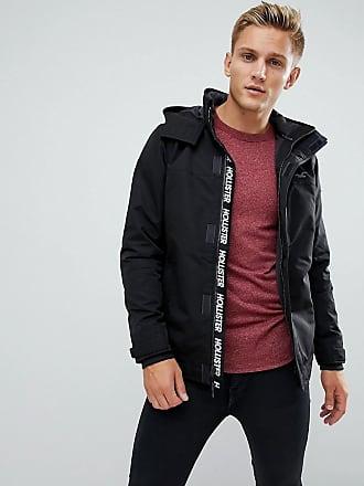 Hollister Parka à capuche dépaisseur moyenne avec logo mouette contrastant  - Noir - Noir 2920f891ebd6