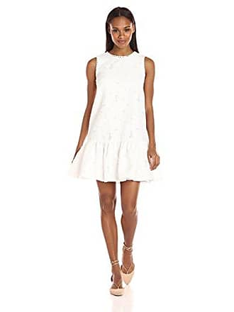 Maggy London Womens Circle Cut Out Back Drop Waist Dress, White, 12