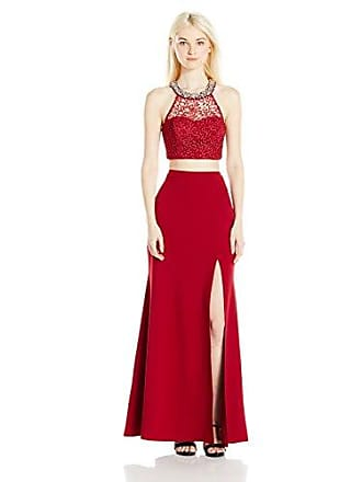 ba3c83278a5 My Michelle Sequin Hearts Juniors Two Piece Long Prom Dress with Lace and  Side Slit