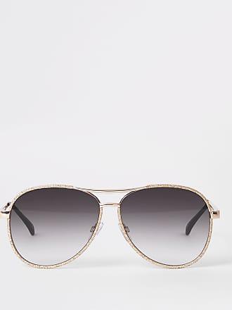 795150be8b River Island Womens Gold glitter smoke lens aviator sunglasses