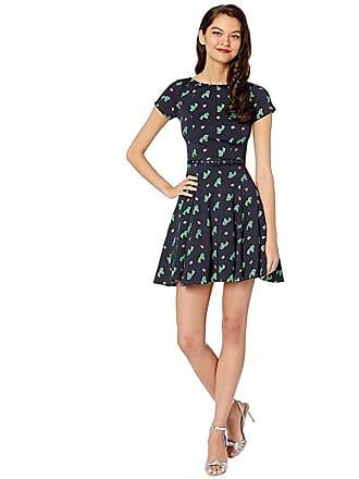 Unique Vintage Knit Cutie Short Sleeve Fit Flare Dress (Navy/Cactus Print) Womens Dress