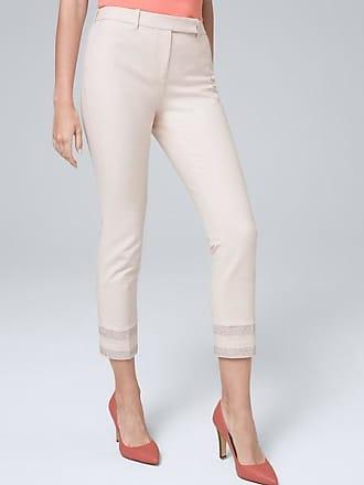 White House Black Market Womens Embroidered-Hem Straight Cropped Pants by White House Black Market, Whisper, Size 14 - Regular
