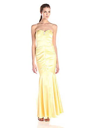 Xscape Womens Long Satin Bustier with Rhinestone Clip, Yellow, 14