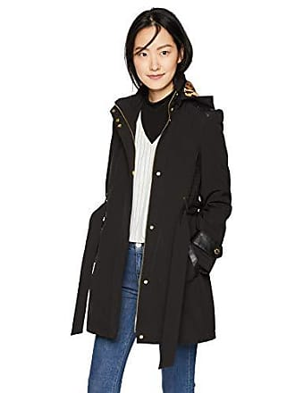 Via Spiga Womens Belted Soft Shell Hooded Jacket with Faux Leopard Lining, Black, Small