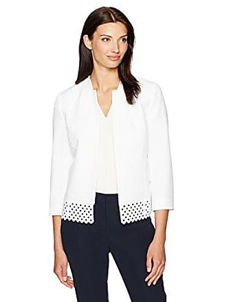 Kasper Womens Stretch Crepe Flyaway Jacket, New Lily White, 8