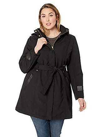 Via Spiga Womens Plus-Size Belted Soft Shell Hooded Jacket with Faux Leopard Lining, Jet Black, 2X