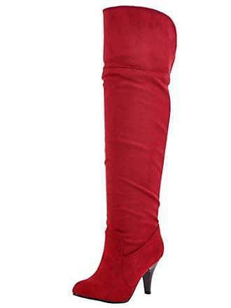 0191867b73d2e8 Aiyoumei Damen Stretch Kniehohe Stiefel mit 8.5cm Absatz Stiletto High  Heels Elegant Knee High Boots