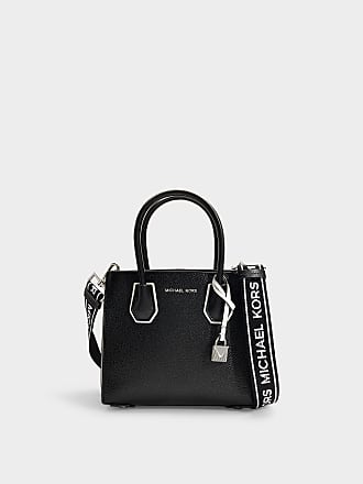 3d9a2b39a36 Michael Michael Kors Mercer Medium Accordion Messenger Bag in Black and  Optic White Grained Calfskin